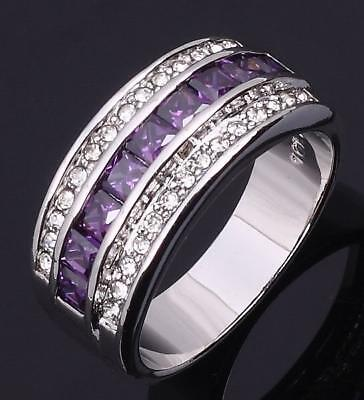 Fashion Square Shape Amethyst 925 Silver Wedding Engagement Ring Size 6-10