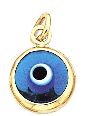 GREEK EVIL EYE .14k GOLD  CHARM / PENDANT..-.. DOUBLE SIDED