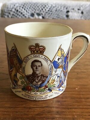 Antique Empire Porcelain Co England King Edward VIII Coronation 1937 Mug Cup