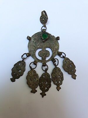ANTIQUE 18th OTTOMAN TURKISH SILVER BROOCH PENDANT ENGRAVING - ULTRA RARE