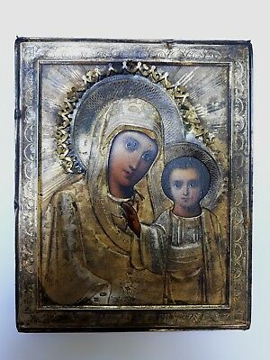 18x14.5cm ANTIQUE 19'c IMPERIAL RUSSIAN MOTHER of GOD PAINTING ICON SILVER 84