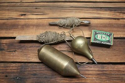 Massive Vintage Pair of Brass Plumb Bobs No 16 1.2KG Old Carpentry Tools