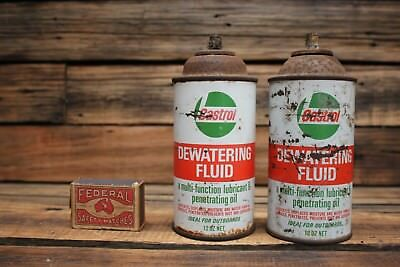 Vintage Pair of Castrol Dewatering Fluid Tins 12 OZ Oil Tin Can