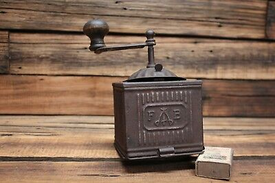 Antique Tin Coffee Grinder Mill Fb Fabrica Nazionale Italy Vintage