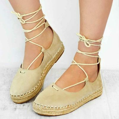 Womens Ladies Flat Lace Up Espadrilles Plimsolls Pumps Shoes Summer Sandals Size