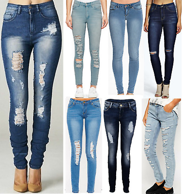 Uk Womens Ripped Knee Cut Jeans Faded Slim Fit Ladies Skinny Denim Sizes 6 To 16