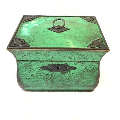 Antique Green Painted Pine Bombe Continental Tea Caddy Twin Section Unusual