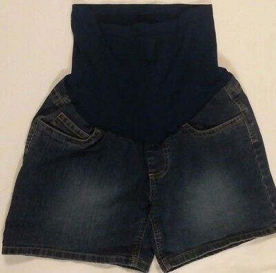 Maternity Shorts Oh Baby Motherhood Sz Small Dark Blue Denim Full Panel Stretch