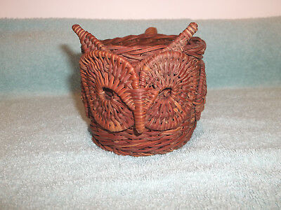 Vintage Wicker Owl Cup Holder with Handle