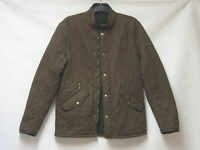 Mens Barbour Chelsea Polarquilt Brown Quilted Jacket Coat Leather Trim Size S