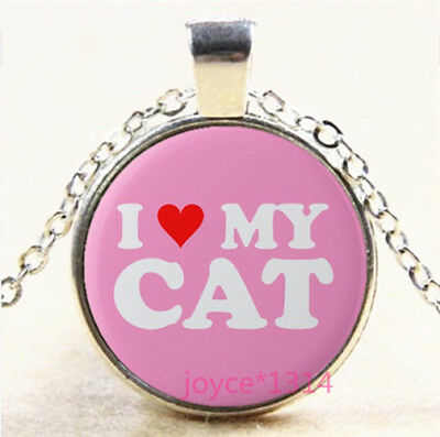 Love My Cats Cabochon Silver//Bronze//Black//Gold Glass Chain Necklace #7076