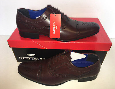 New Mens Leather Brogues Shoes Bordo Lace Up Smart Office Dress Formal Size 7-12