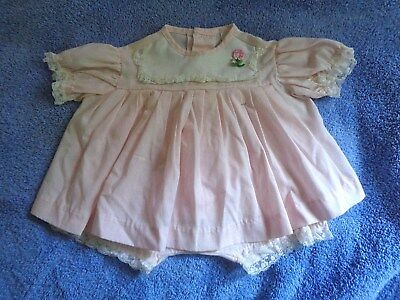 VTG NWOT Dreamboat Creations Baby Girl Pink Cotton Dress Panties 9 - 12 mo