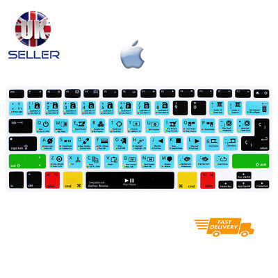 Davinci Resolve Shortcut Keyboard Cover Skin for EU layout Apple mac Keyboards