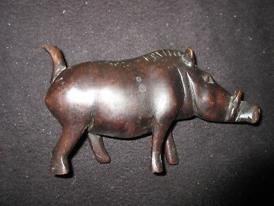 carved wooden wart hog hardwood