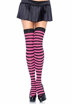 (TG. One Size) Black Lower Leg Avenue nylon One Size Colore nero / fucsia