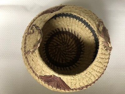 Vintage Handmade Woven Sisal Straw Basket with Handles Excellent