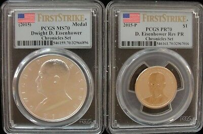 PCGS MS 70 and PR 70 2015 Eisenhower Coin and Chronicles Set w/ Original Box