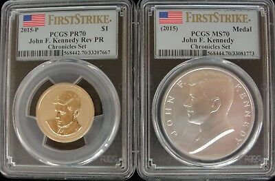 PCGS MS 70 and PR 70 2015 Kennedy Coin and Chronicles Set w/ Original Box