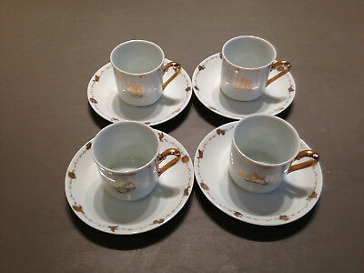 Set of 8 Gold Plated Looney Tunes Espresso Cups