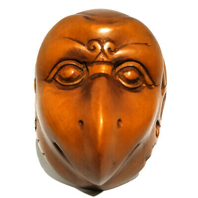 Hand Carved Boxwood Netsuke Birdman Mask can DIY Pendant Necklace
