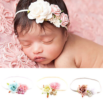 Newborn Baby Girl's Flower Headband Photography Prop Beach Holiday Hair Band New