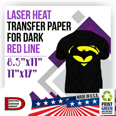 "RED LINE LASER HEAT TRANSFER PAPER FOR DARK  8.5""x11"" - 11""x17"""
