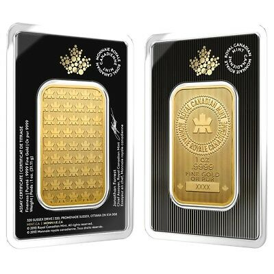 2018 1 oz Gold Wafer Bar Royal Canadian Mint RCM .9999 Fine (In Assay)