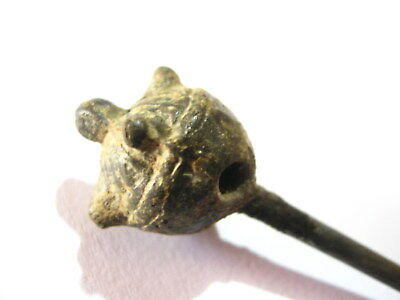 Byzantine Medieval Silver Plated Bronze Hair Pin Dress Pin (02)