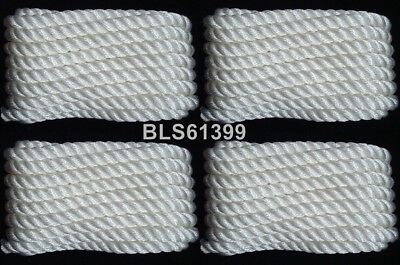"""(4) White Twisted Nylon Boat Dock Lines 3/8"""" Marine Rope (2) Each 10' & 15' ft"""