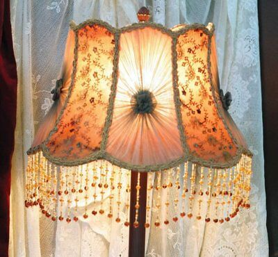 NEW! Smoky Mauve Lampshade Victorian Style Lamp Shade Glass Beads
