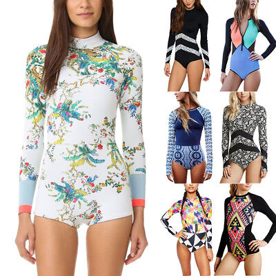 Women's Floral Long Sleeve Padded One Piece Swimsuit Beach Sporty Surfing Bikini