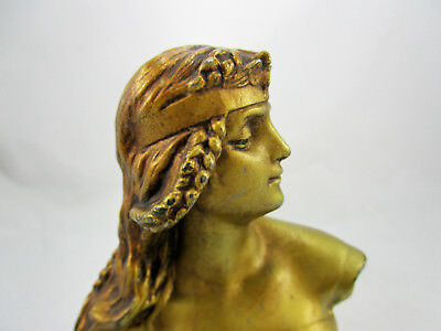 Ant. Art Nouveau French Bronze Spelter Gilded Lady Bust Signed Salome Par Rigual