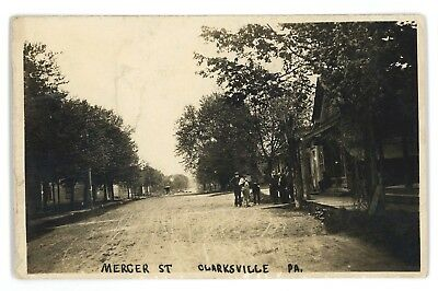 RPPC Mercer St View CLARKSVILLE PA Vintage Greene County Real Photo Postcard