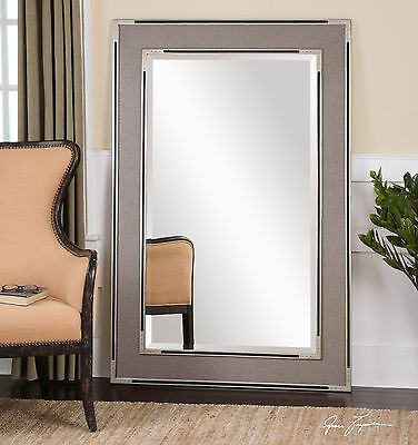"""Huge New 61"""" Oversized Beveled Floor Mirror Gray Aged Silver & Black Accent"""