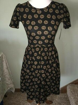 65eda3338d04a New LuLaRoe Amelia Dress Black Sunflowers NWT XXS Summer Floral Sun Flower