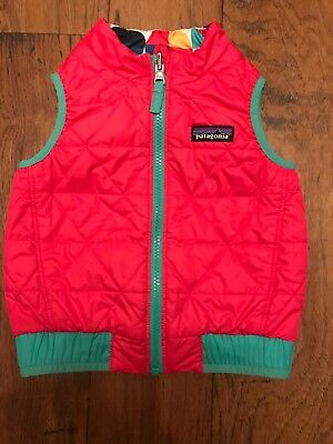 Patagonia Reversible Puffball Vest Baby/Toddler Vest 12-18 Months (Pink/Multi)
