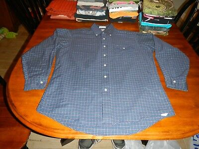 vintage ll bean long sleeve button front shirt mens large made n usa 15 1/2 x 33