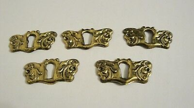 Set 0F 5 Vintage Brass Keyhole Covers Escutcheon S