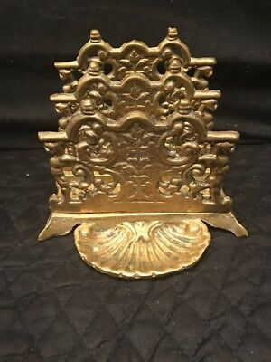 Vintage Ornate Solid Brass Letter Holder Victorian Design w/ 3 Slots and a Tray