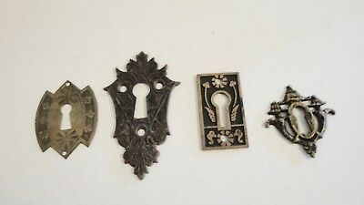 SET 0F 4 VINTAGE  BRASS KEYHOLE COVERS ESCUTCHEONS - All different