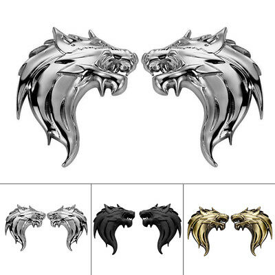 Car / Motorcycle Side Silver 3D Metal Decal Sticker Wolf Head Logo Badge Emblem