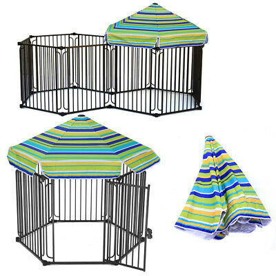Dog Cage Crates Enclosures Pet Pig Kennel Training Metal House with Roof Playpen