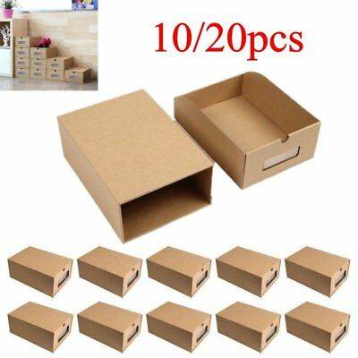 10/20X Shoe Boxes Organiser Drawer Foldable Stackable Storage Visible Cardboard
