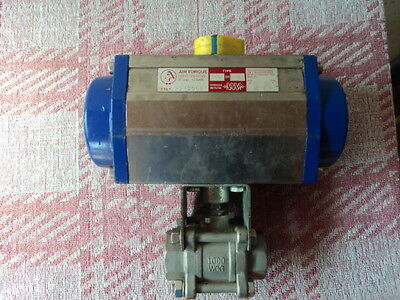 """Actuated Pneumatic Ball Valve 1"""" Stainless Steel 316"""
