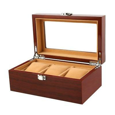 Watch box Wooden 3 Slots Case Jewelry Display Storage Boxes with Glass Top...