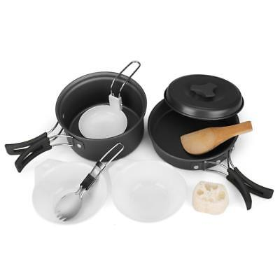Flexzion Camping Cookware Mess Kit Compact 10pc Hiking Cooking Gear Set -...