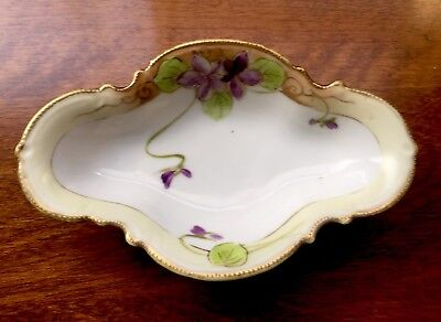 Beautiful Vintage Nippon Trinket Dish Hand Painted Violets & Gold Trim