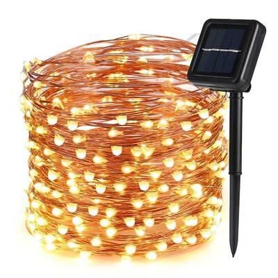Icicle Solar Fairy String Lights, 66ft 200 LED Flexible Copper Wire Starry...