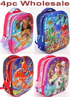 4pc Wholesale Kids Children 4D Moana PJ Masks Frozen Backpack Bags 27x33cm Mixed